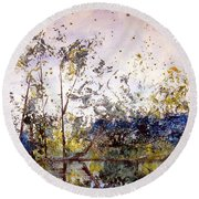 Along The River Bank Round Beach Towel