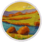 Along The River In Steamboat Springs II Round Beach Towel