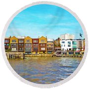 Along The River Thames Round Beach Towel