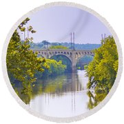 Along The Schuylkill River In Manayunk Round Beach Towel by Bill Cannon
