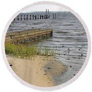 Along The Shore Of Biloxi Bay Round Beach Towel