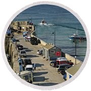 Along The South Pier - Newquay Harbour Round Beach Towel