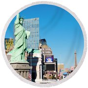 Along The Strip Round Beach Towel
