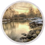 Along The Thames River Signed Round Beach Towel by Garvin Hunter