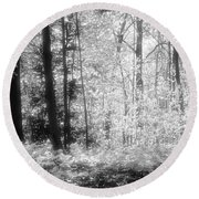 Along The Top Bw  Round Beach Towel