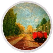 Along The Tracks Round Beach Towel