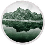 Along The Yen River Round Beach Towel