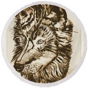 Alpha Male - The Wolf - Antiqued Round Beach Towel