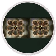 Alpha Waves - Gently Cross Your Eyes And Focus On The Middle Image Round Beach Towel