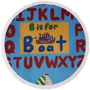Alphabet Boat Round Beach Towel