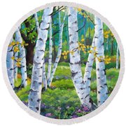 Alpine Flowers And Birches  Round Beach Towel