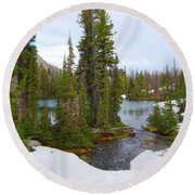 Alpine Lake Area Round Beach Towel