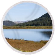 Alpine Lake In The Arapahoe National Forest Round Beach Towel