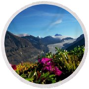 Alpine Meadow Flowers Overlooking Glacier Round Beach Towel