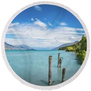 Alpine Scenery Panorama At Kinloch, New Zealand Round Beach Towel