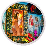 Altar Painted By Famous John Walach Round Beach Towel