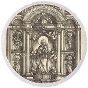 Altar With The Virgin And Child And Saints Christopher, Barbara, George And Catherine Round Beach Towel