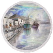Altea Harbour On The Costa Blanca 01 Round Beach Towel