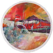 Altea Harbour Spain Round Beach Towel