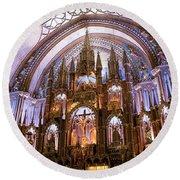Alter Inside Basilica Of Notre Dame, Montreal, Quebec, Canada. Round Beach Towel