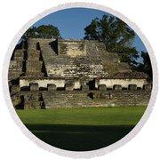 Altun Ha Mayan Temple Round Beach Towel