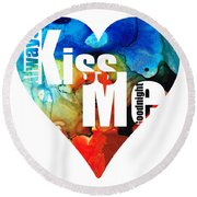 Always Kiss Me Goodnight 6 - Valentine's Day Round Beach Towel