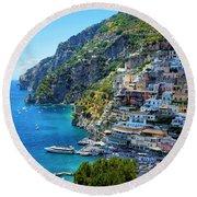 Amalfi Coast, Positano, Italy Round Beach Towel