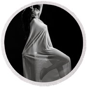 Amani African American Nude Sensual Sexy Fine Art Print In Sepia 4975.01 Round Beach Towel