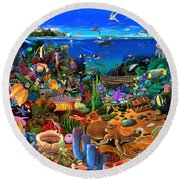 Amazing Coral Reef Round Beach Towel