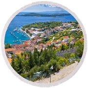 Amazing Historic Town Of Hvar Aerial View Round Beach Towel