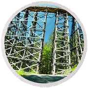 Amazing Kinsol Wooden Trestle Panorama View, Vancouver Island, Bc, Canada. Round Beach Towel