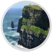 Amazing Look At The Sea Cliff's Of Moher In Ireland Round Beach Towel