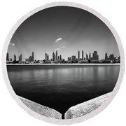 Amazing Panorama Reflection Of Dubai Jumeirah Beach, Dubai, United Arab Emirates Round Beach Towel