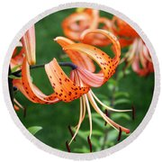Amazing Tiger Lily Round Beach Towel