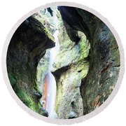 Amazing Vancouver Island Series - Sombrio Cave Waterfall  Inside  Closeup 2. Round Beach Towel