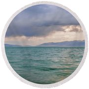 Amazing View Of Azure Sky Over Rippled Surface Of Cold Sea At Sunrise Round Beach Towel