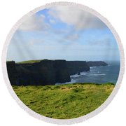 Amazing Views Of The Cliff's Of Moher In Ireland Round Beach Towel