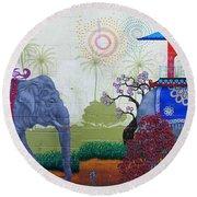 Amazing Wall Art Painting Or Elephants Round Beach Towel