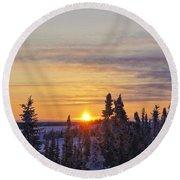 Amazing Winter Sunrise Round Beach Towel