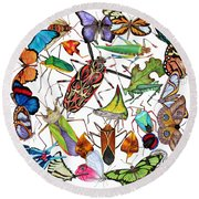 Amazon Insects Round Beach Towel