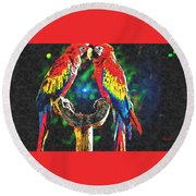 Amazon Parrotts Round Beach Towel