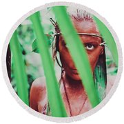 Amazonian Goddess Portrait Of A Wild Looking, Camouflaged Warrior Girl Holding Bow And Arrow Round Beach Towel