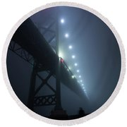 Ambassador Bridge In Fog Round Beach Towel