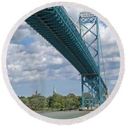 Ambassador Bridge - Windsor Approach Round Beach Towel