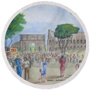 Amber At The Roman Coliseum Round Beach Towel