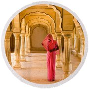 Amber Fort Temple Round Beach Towel