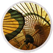 Amber Light Within Round Beach Towel