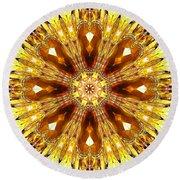Amber Sun. Digital Art 3 Round Beach Towel