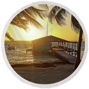 Ambergris Cayr Sunrise Palm Trees San Pedro Belize Round Beach Towel