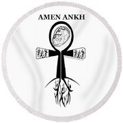 Amen Ankh Bw Round Beach Towel
